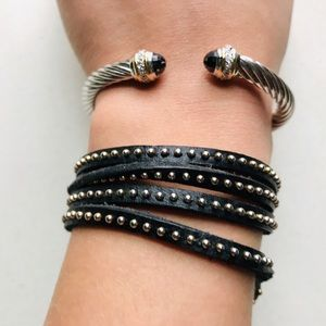 Jewelry - Cable Cuff & Leather Wrap Bracelet Set